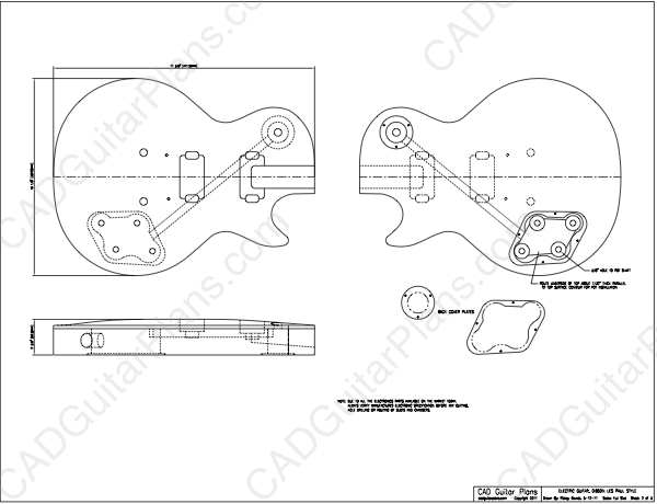 600x460 Pdf Les Paul Electric Guitar Plan Gibson Style Cad Guitar Plans