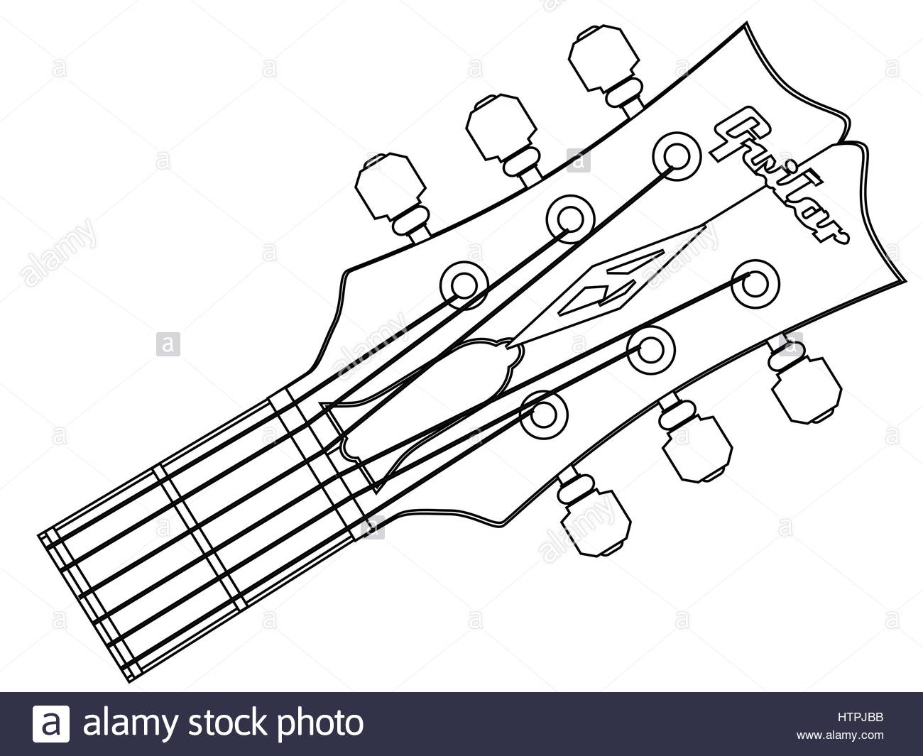 1300x1065 A Traditional Guitar Headstock With Strings And Tuners Stock