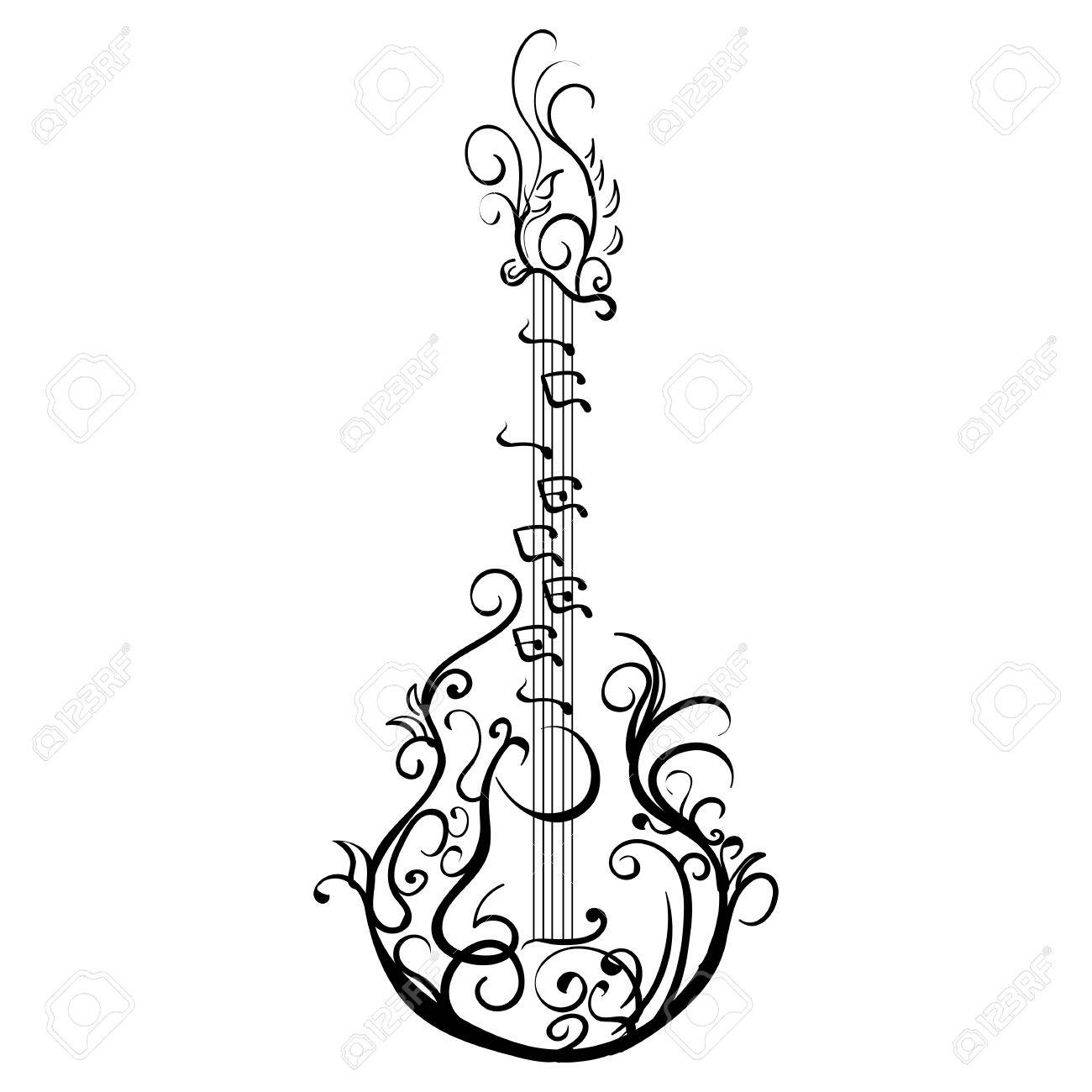 1300x1300 Stylized Classical Guitar Royalty Free Cliparts, Vectors,