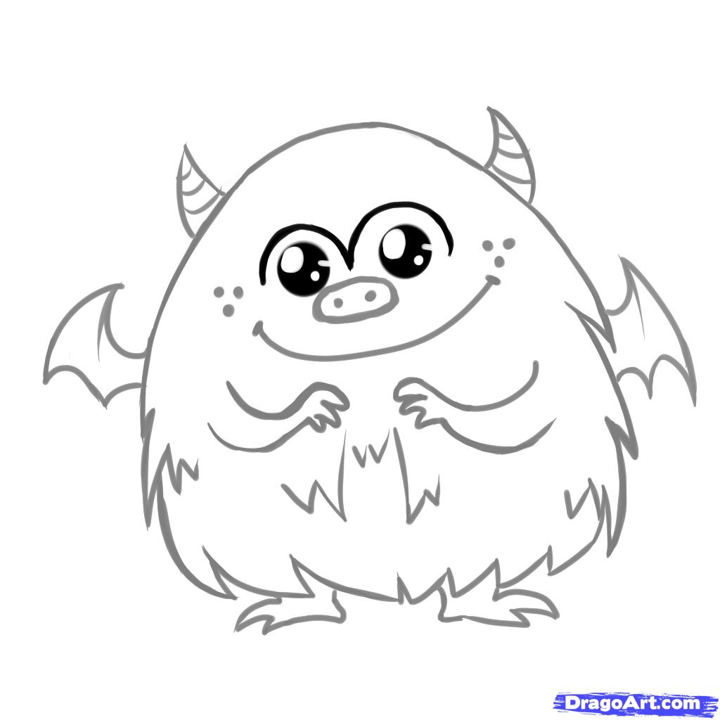 1024x1024 How To Draw A Cute Monster, Step By Step, Creatures, Monsters