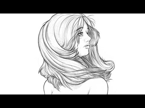480x360 Drawing Timelapse Flowing Hair