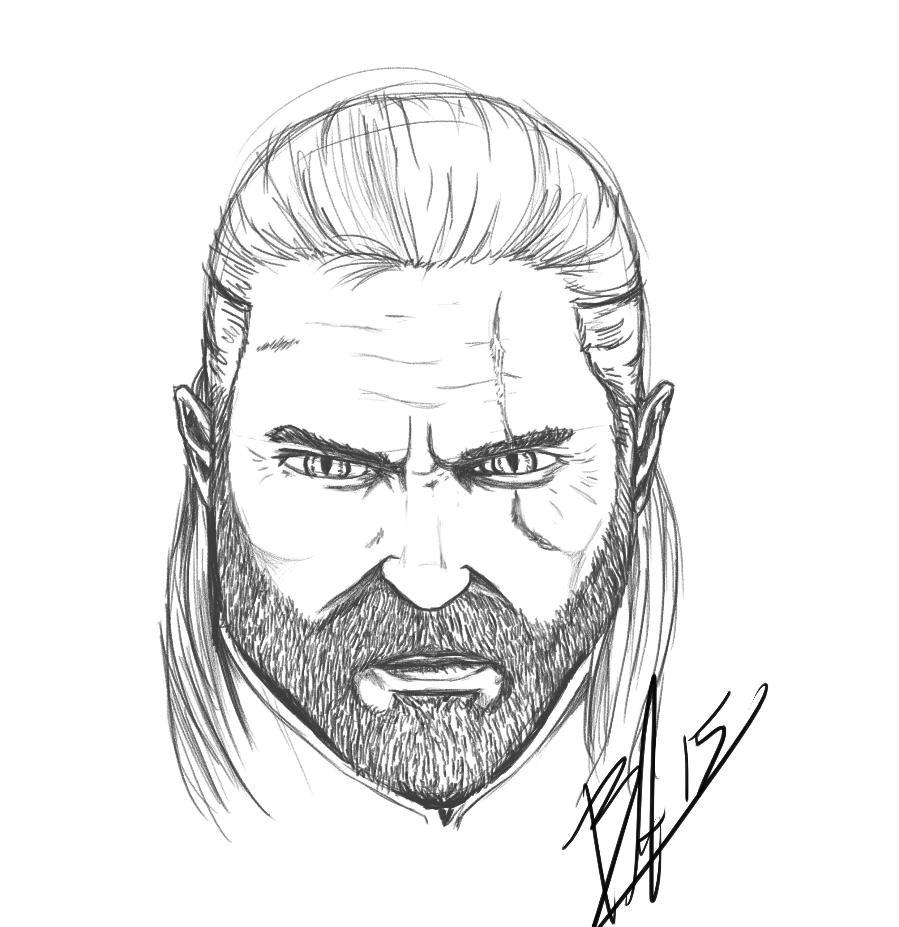 2907x3000 Quick Sketch Of Geralt From The Witcher Drawn By Kuvok