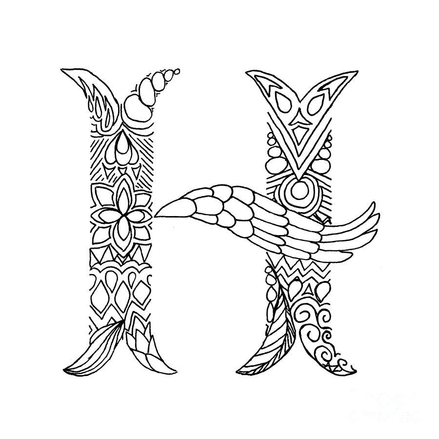 900x900 Patterned Letter H Drawing By Alyssa Zeldenrust