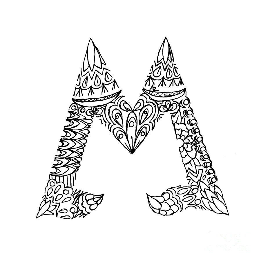 900x900 Patterned Letter M Drawing By Alyssa Zeldenrust