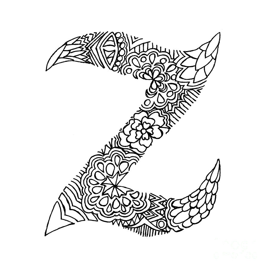 900x900 Patterned Letter Z Drawing By Alyssa Zeldenrust