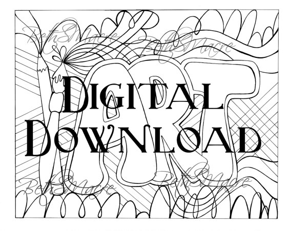 570x451 Printable Drawing Art Letter Design Coloring Page Digital