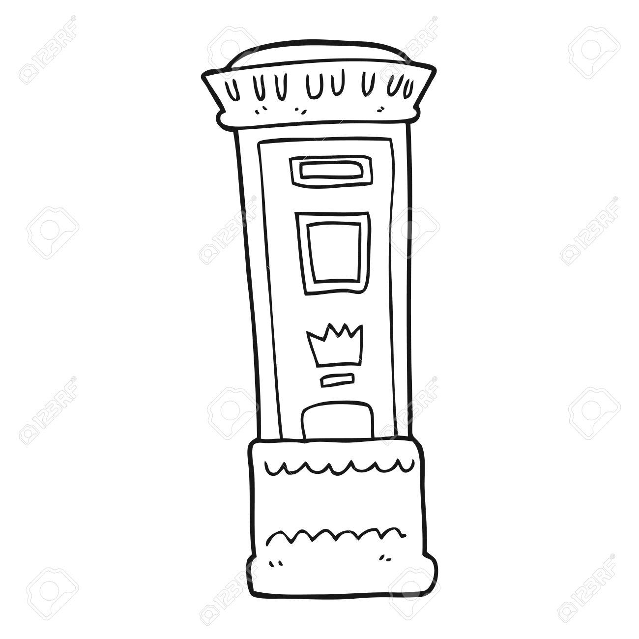 1300x1300 Freehand Drawn Black And White Cartoon British Post Box Royalty