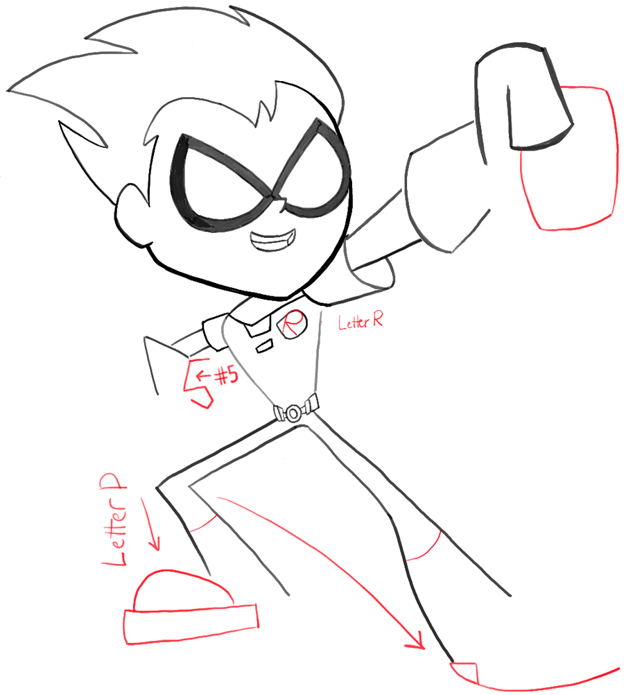 900x1002 How To Draw Robin From Teen Titans Go With Easy Steps Tutorial