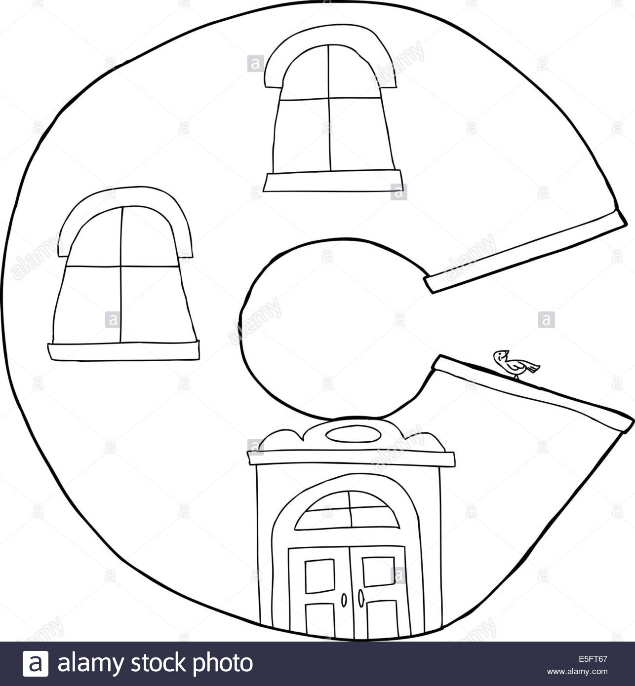 1286x1390 Outline Cartoon Letter C Apartment Shape Drawing Stock Photo