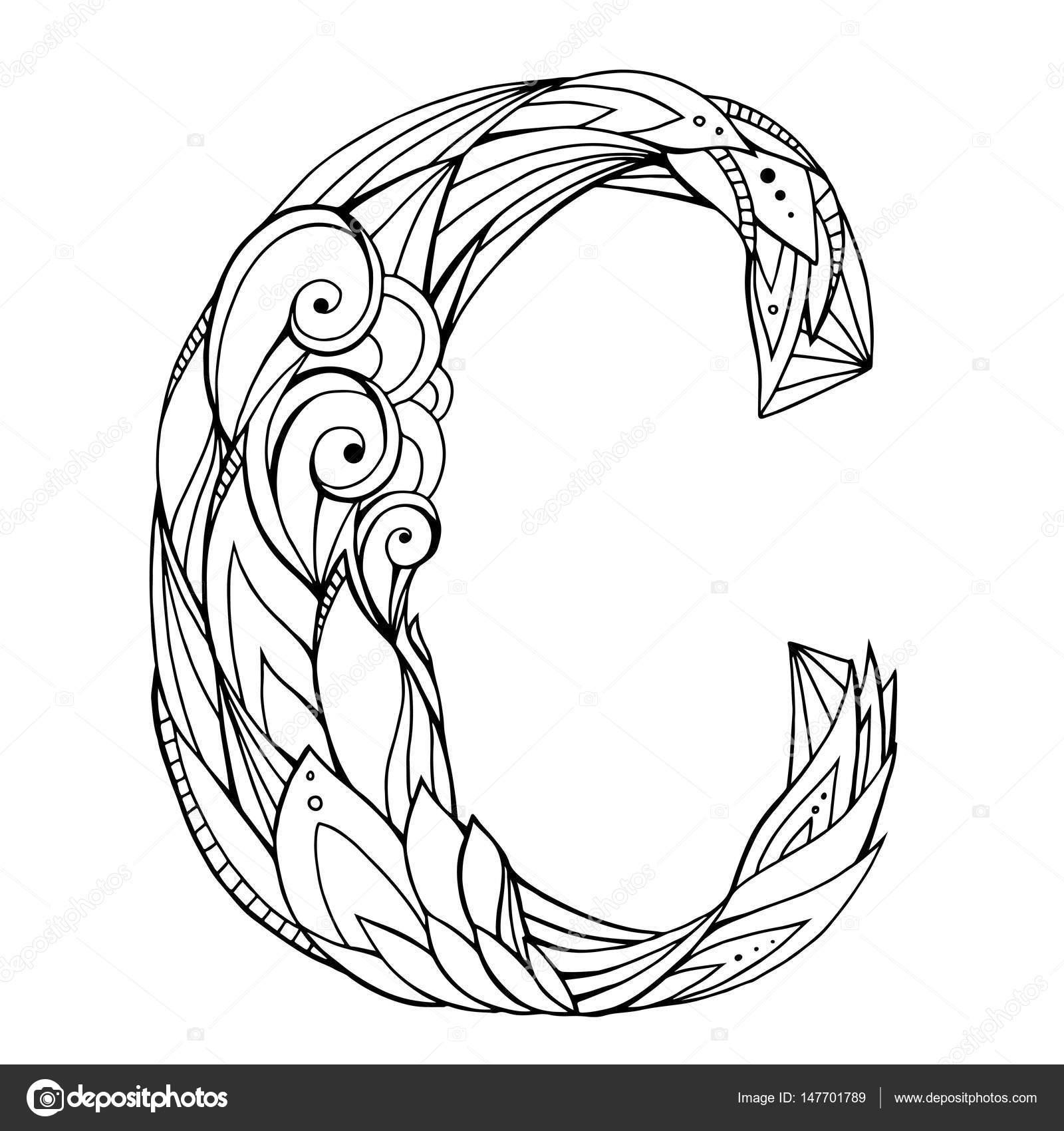 1600x1700 Drawing Capital Letter C Stock Vector Veleri