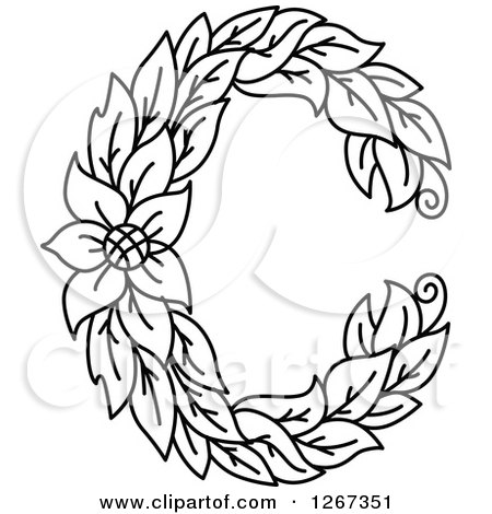 450x470 Clipart Of A Black And White Floral Capital Letter C With Flower