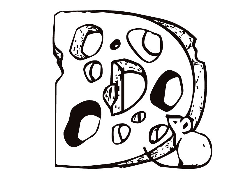 810x630 Letter D (Cheese And Mouse) Coloring Page
