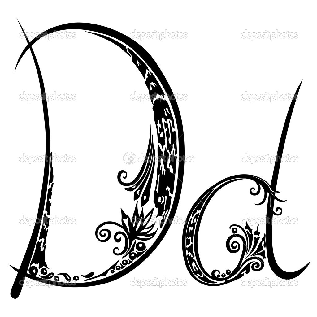 1024x1024 Letter D D In The Style Of Abstract Floral Pattern On A White