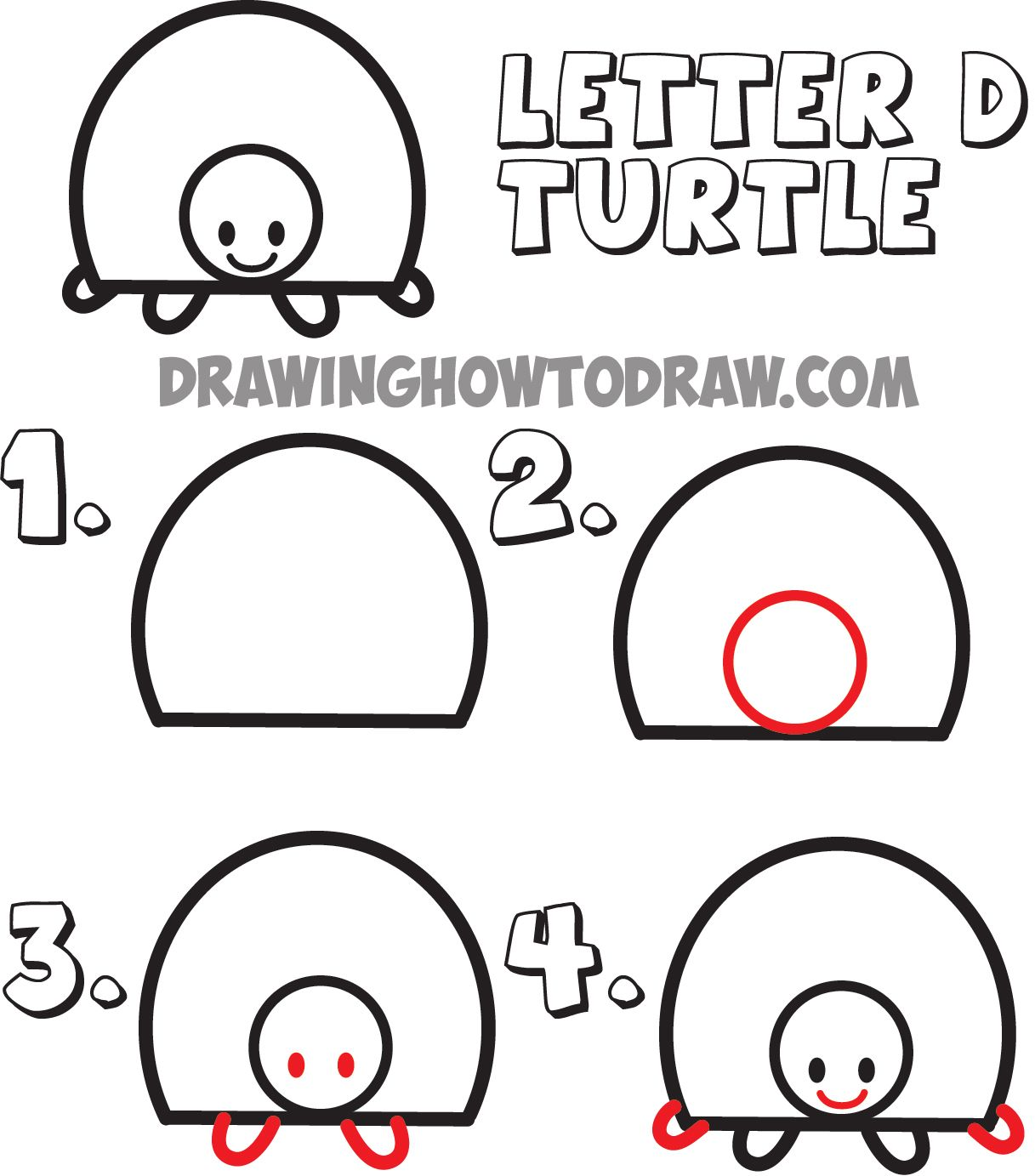 1217x1383 How To Draw Cartoon Turtles From The Uppercase Letter D Shape