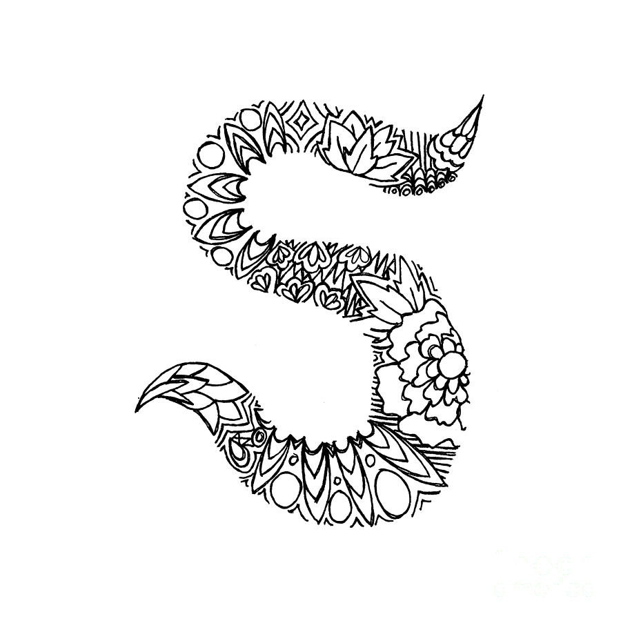 900x900 Patterned Letter S Drawing By Alyssa Zeldenrust