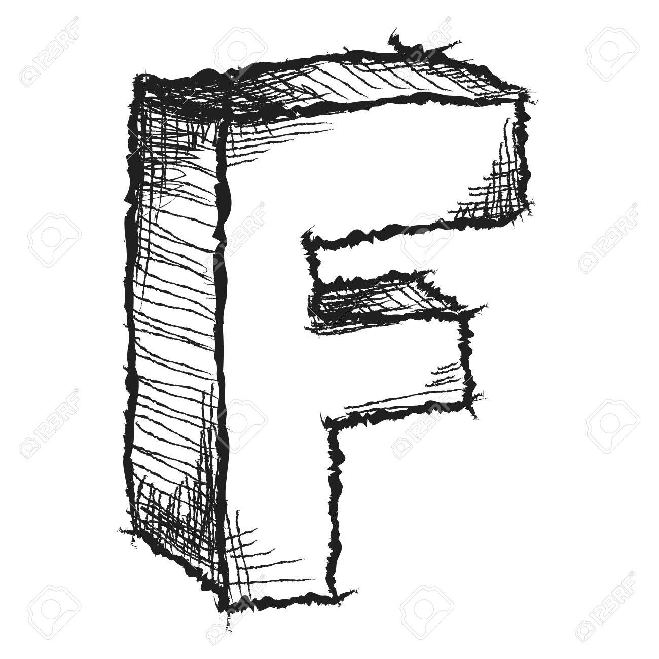 1300x1300 Sketchy Hand Drawn Letter F Isolated On White Stock Photo, Picture