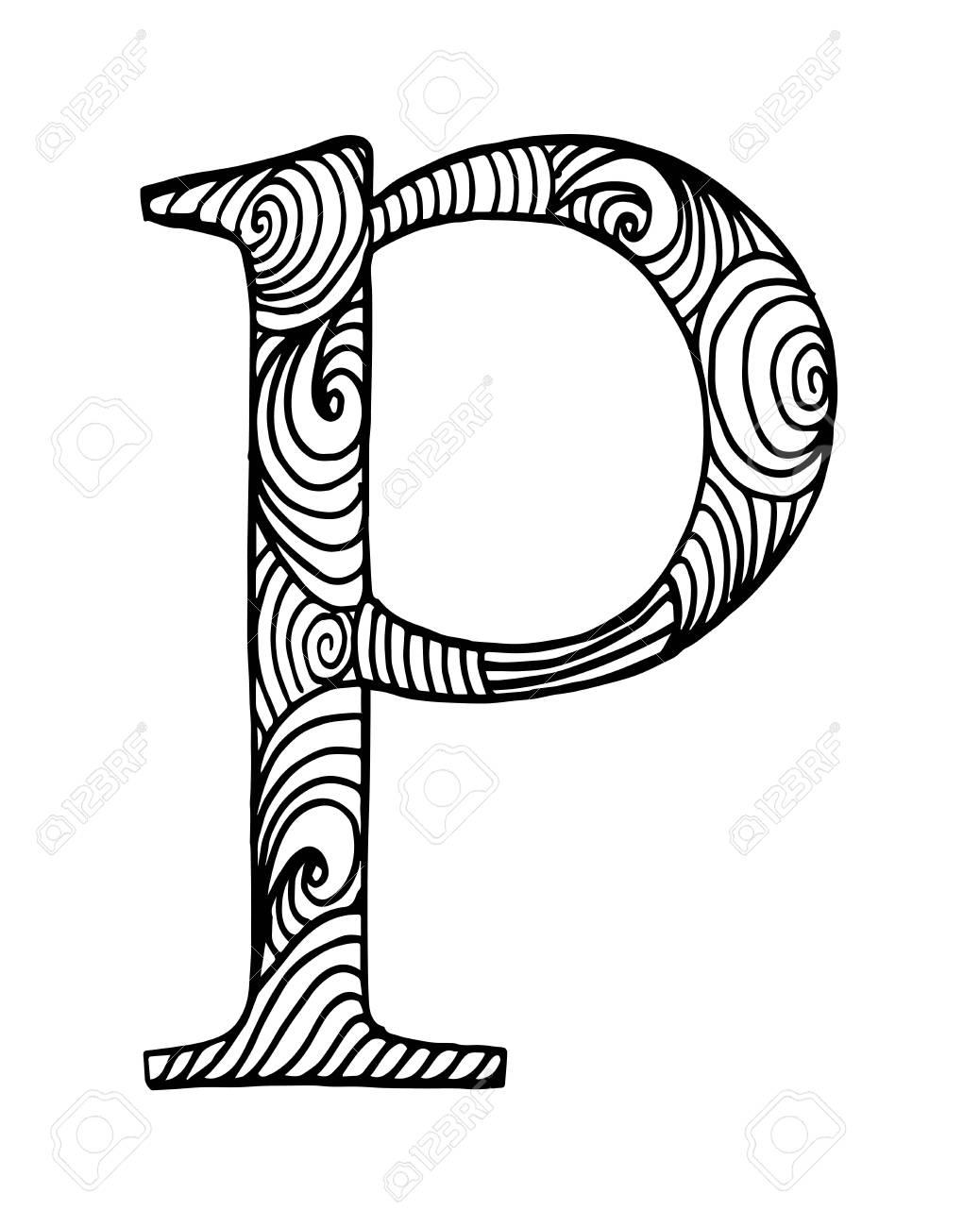 1038x1300 Zentangle Stylized Alphabet. Letter P In Doodle Style. Hand Drawn