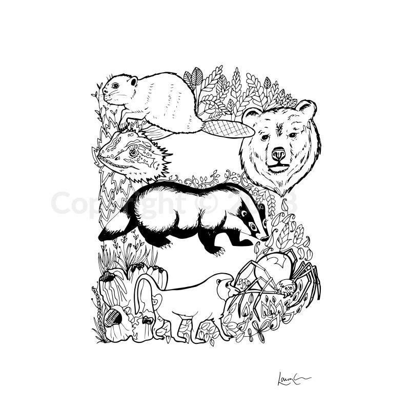 800x800 Animal Letter Hand Drawn Original Letter Love Shop