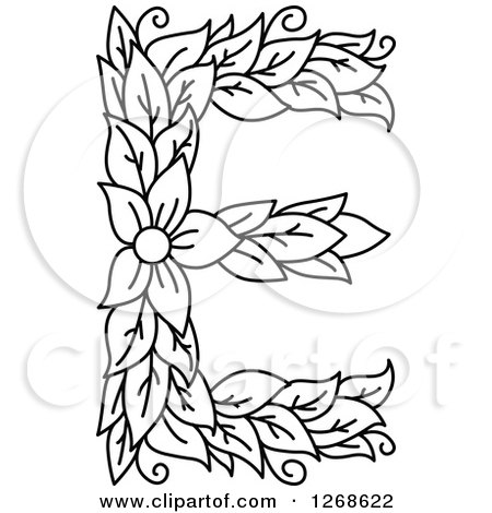 450x470 Clipart Of A Black And White Floral Capital Letter E With A Flower