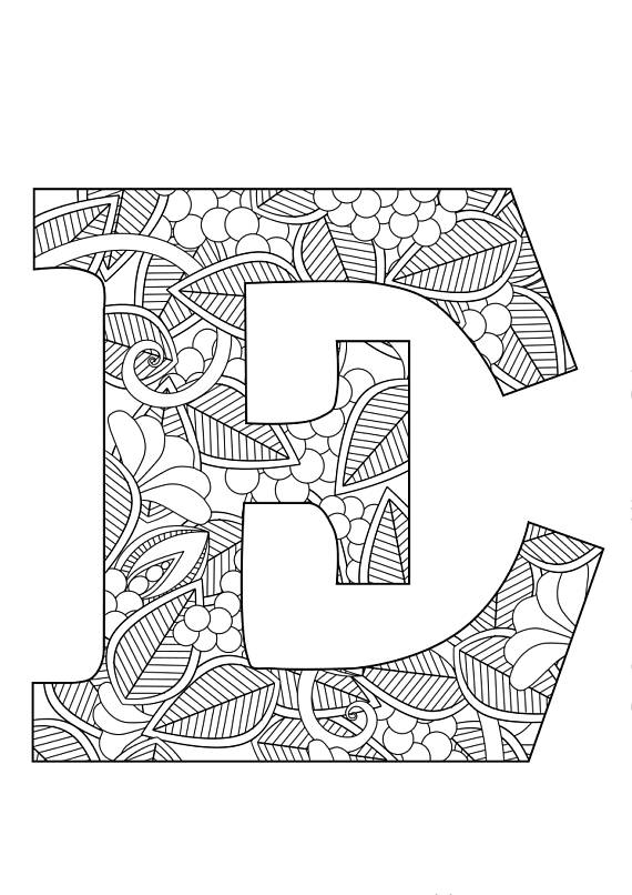 570x806 Letter E Floral Zentangle Inspiration