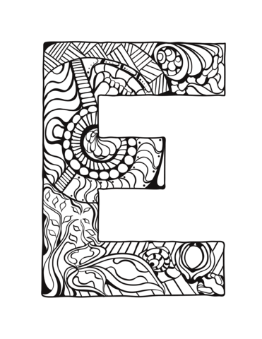 371x480 Letter E Zentangle Coloring Page Free Printable Coloring Pages