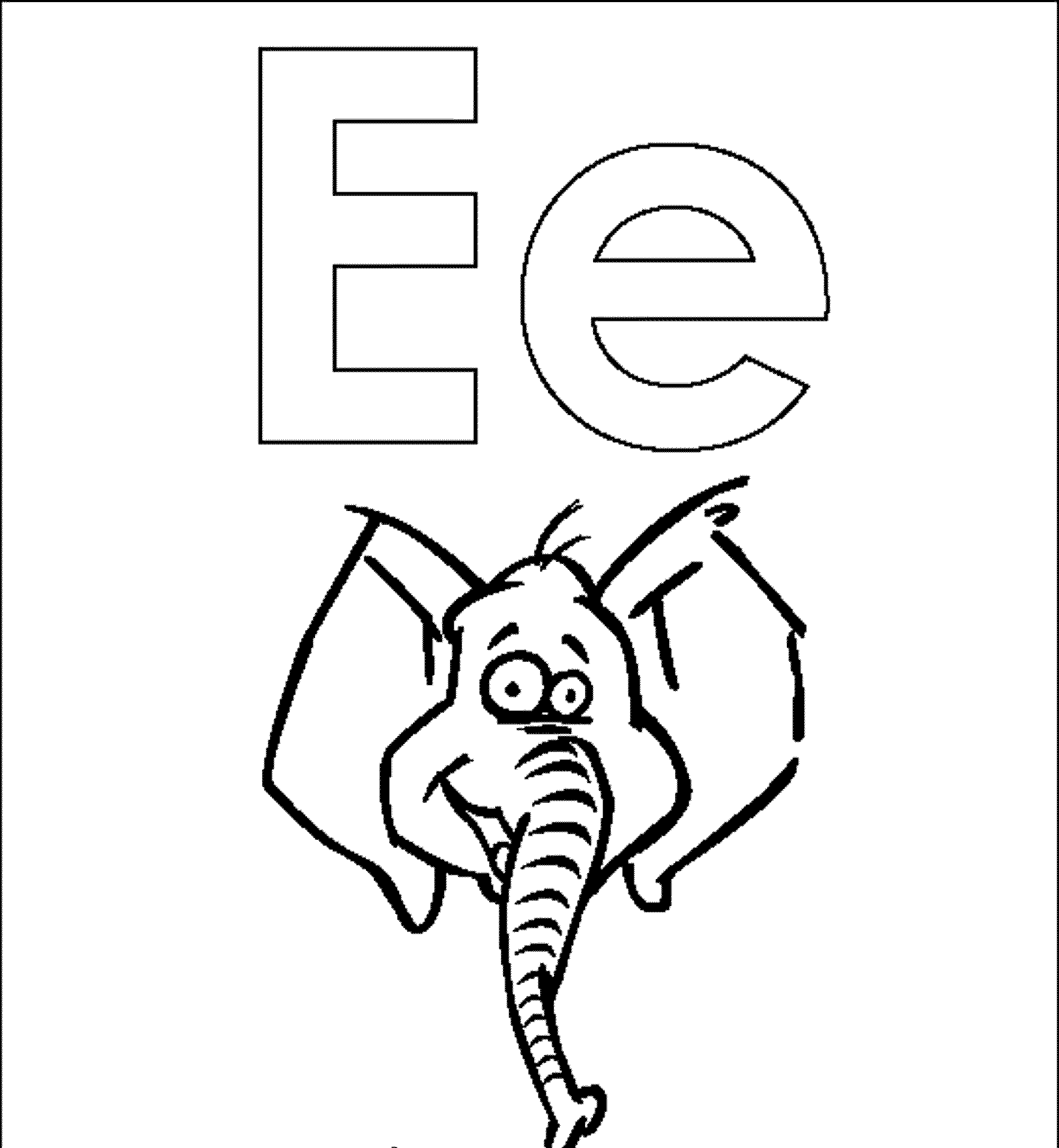 2000x2168 Letter E Elephant Coloring Pages Alphabet