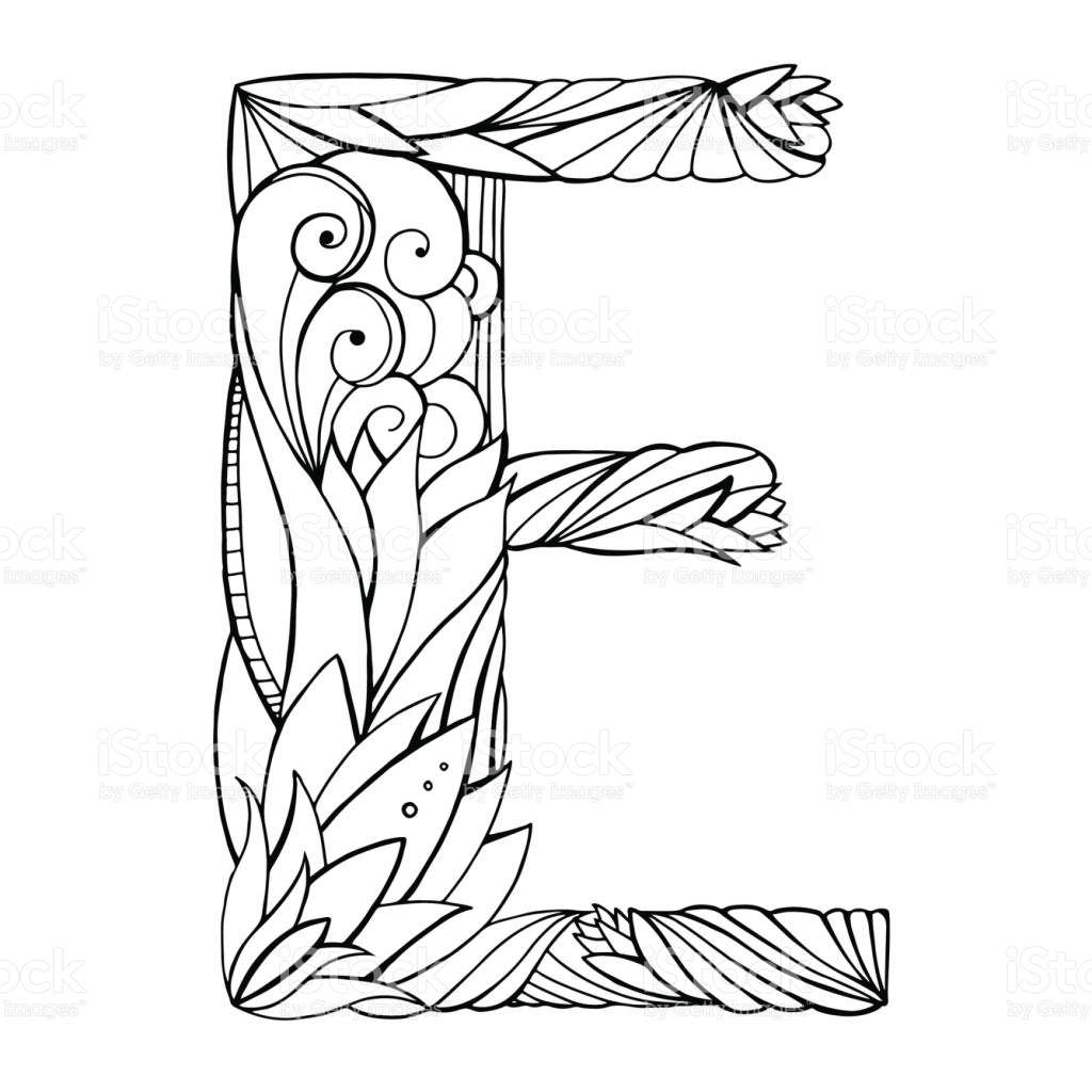 1024x1024 Black And White Freehand Drawing Capital Letter E With Floral
