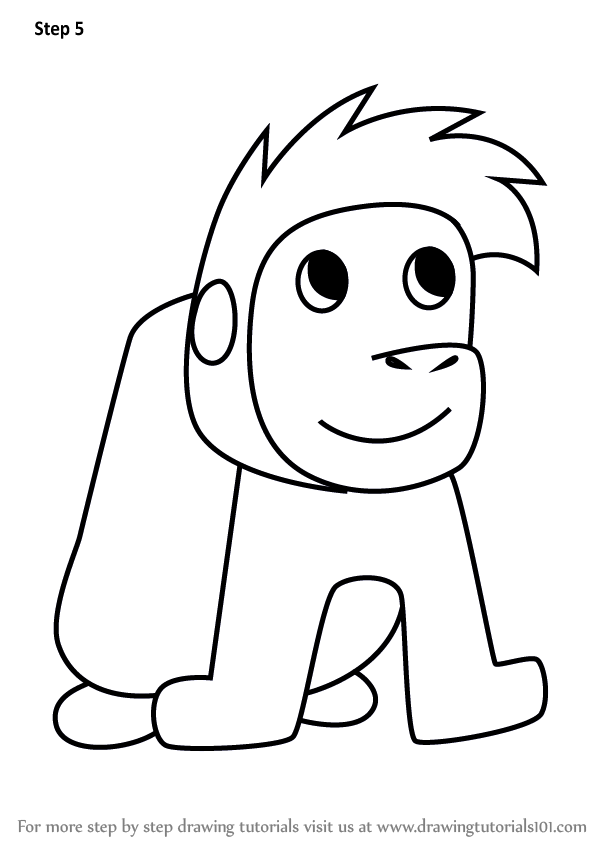 602x848 Learn How To Draw A Gorilla From Letter G (Animals With Letters