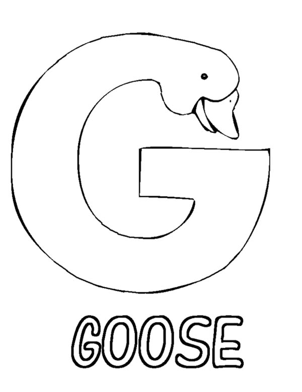 600x779 Letter G Is For Goose Coloring Page Batch Coloring
