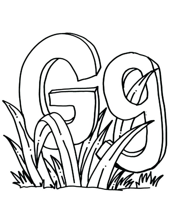 600x734 Awesome Letter G Coloring Page Image For Grass Pages Color E