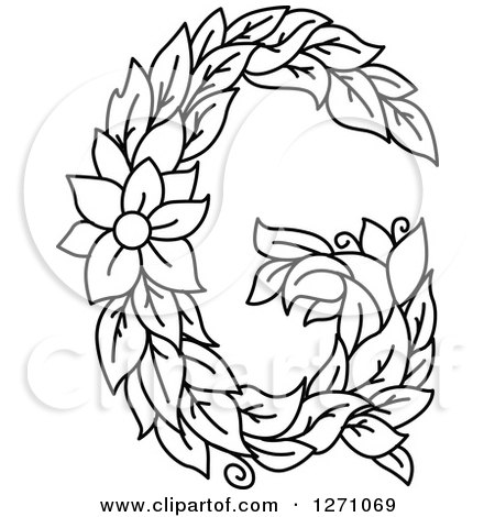450x470 Clipart Of A Black And White Floral Capital Letter G With A Flower
