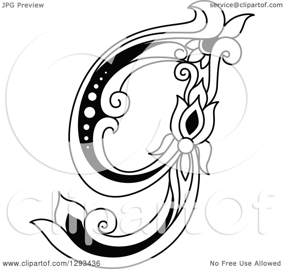 1080x1024 Clipart Of A Black And White Vintage Lowercase Floral Letter G