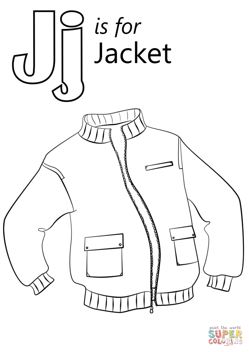 849x1200 Letter J Is For Jacket Coloring Page Free Printable Pages