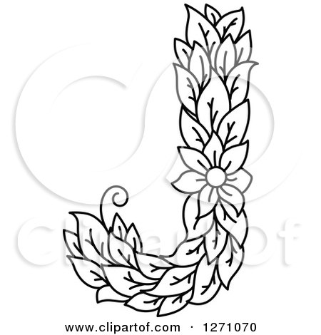 450x470 Clipart Of A Black And White Floral Capital Letter J With A Flower