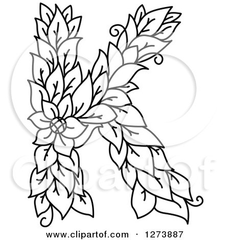 450x470 Clipart Of A Black And White Floral Capital Letter K With A Flower