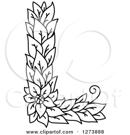 450x470 Clipart Of A Black And White Floral Capital Letter L With A Flower