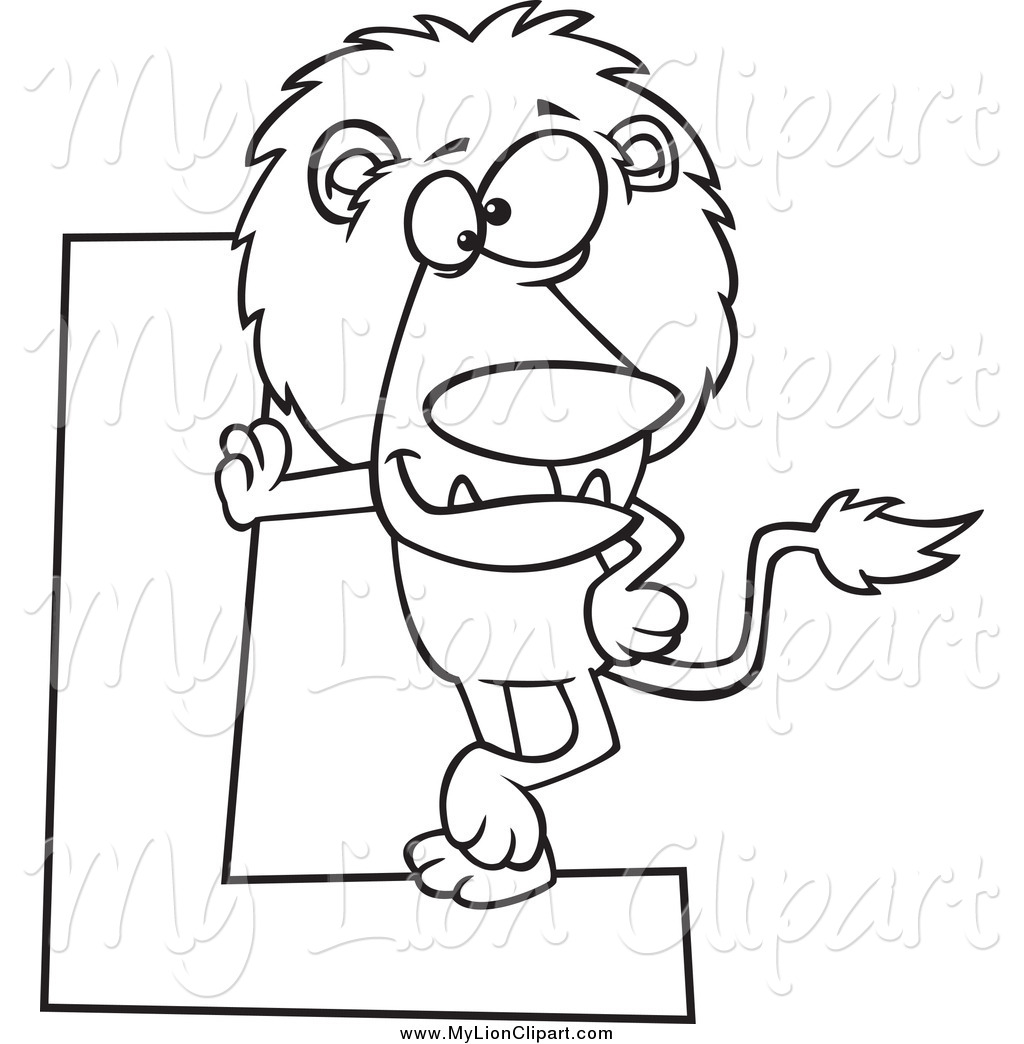 1024x1044 clipart of a black and white lion leaning on a letter l by