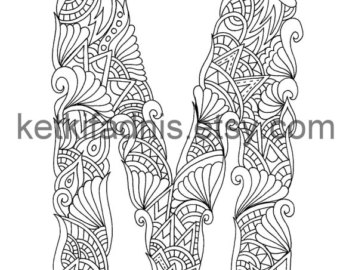 340x270 Coloring Letter M Etsy