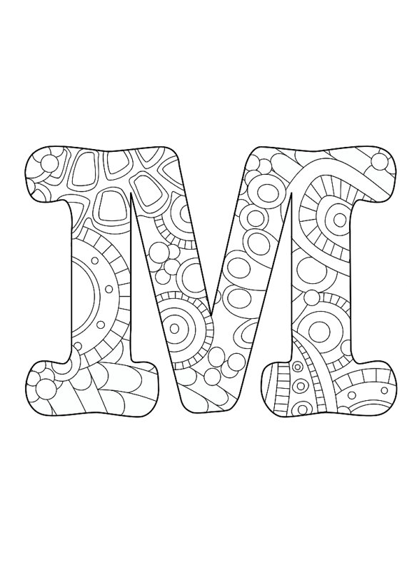 570x806 Letter M, Initial, Monogram, Funky, Color, Coloring Page, Colored