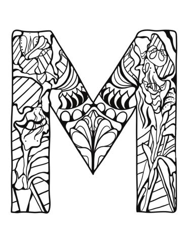 371x480 Letter M Zentangle Coloring Page Free Printable Coloring Pages