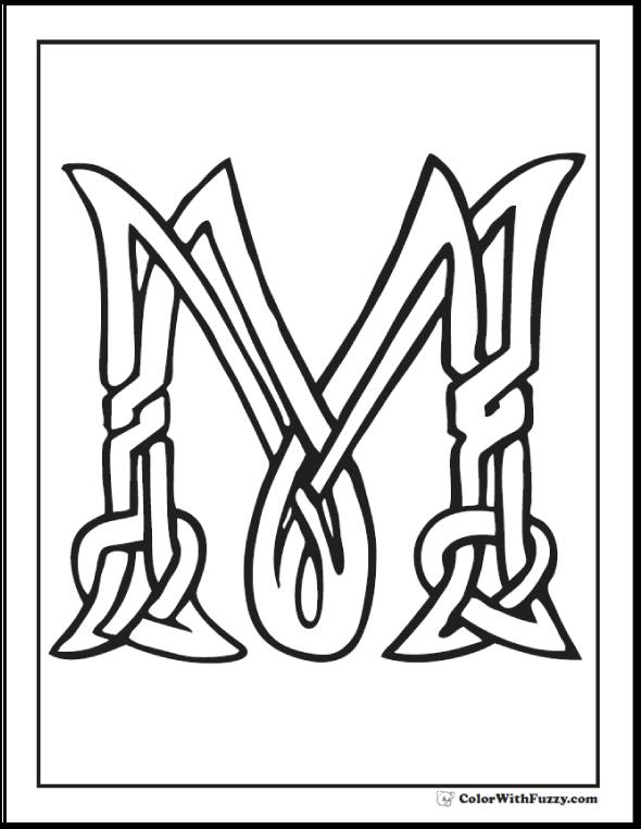 590x762 M Celtic Coloring Page