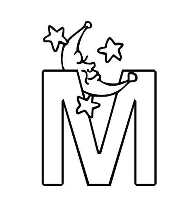 600x691 M Letter For Moon Coloring Page