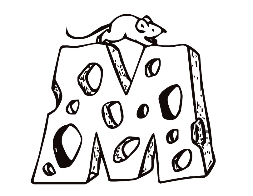 810x630 Printable Letter M (Cheese And Mouse) Coloring Page