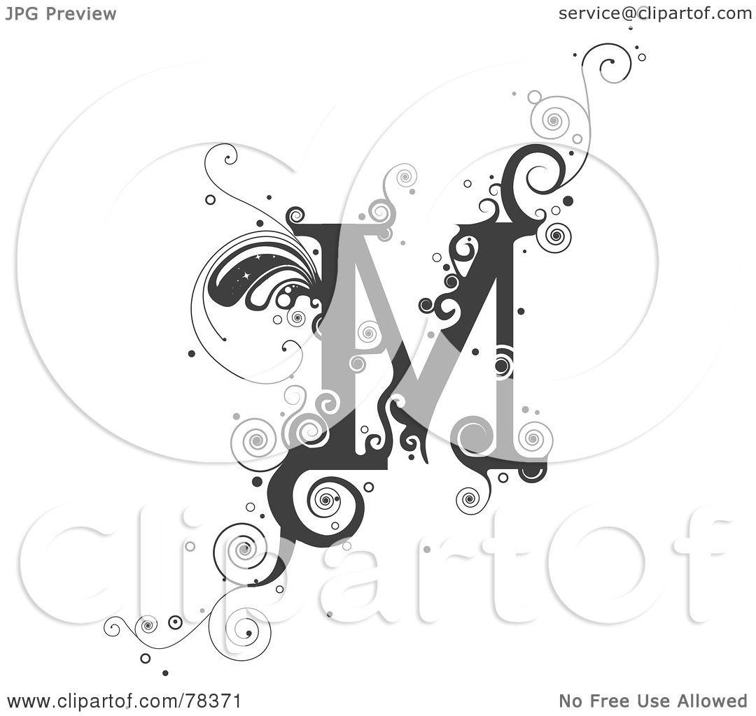 1080x1024 Royalty Free (Rf) Clipart Illustration Of A Vine Alphabet Letter M