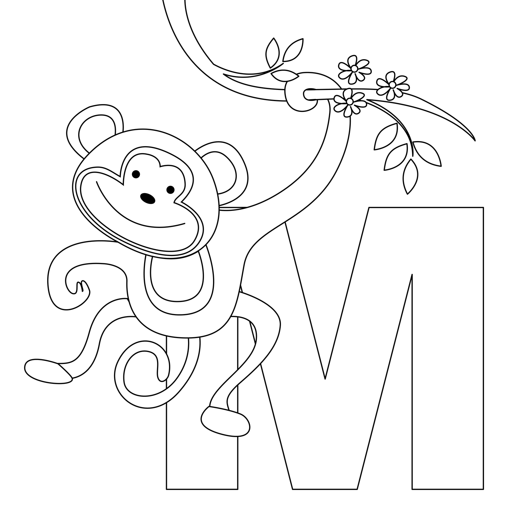 1732x1732 Animal Alphabet Letter M For Monkey! Here's A Simple Animal