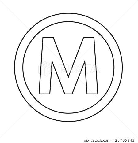 450x468 Basic Font Letter M Icon Illustration Design