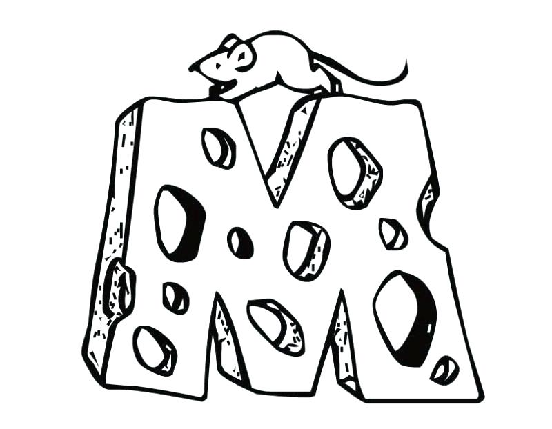 800x622 Cheese Coloring Pages Letter M Coloring Page Mouse Cheese Letter M