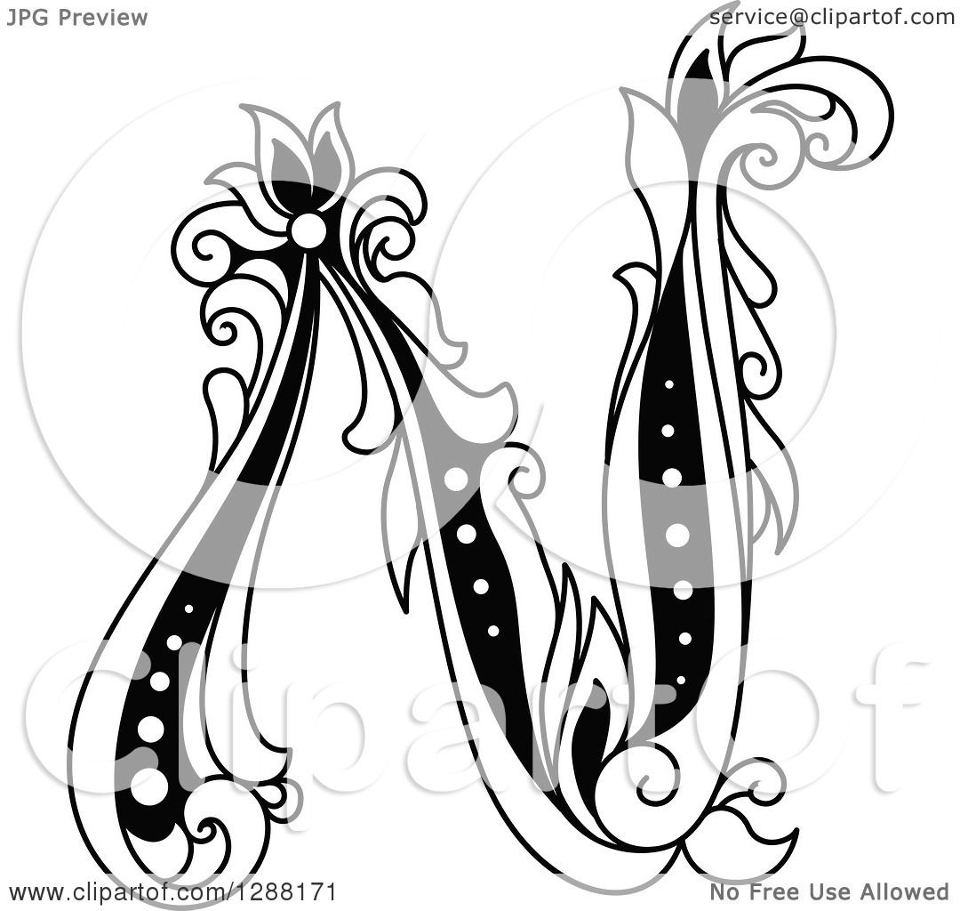 1080x1024 Clipart Of A Black And White Vintage Floral Capital Letter N
