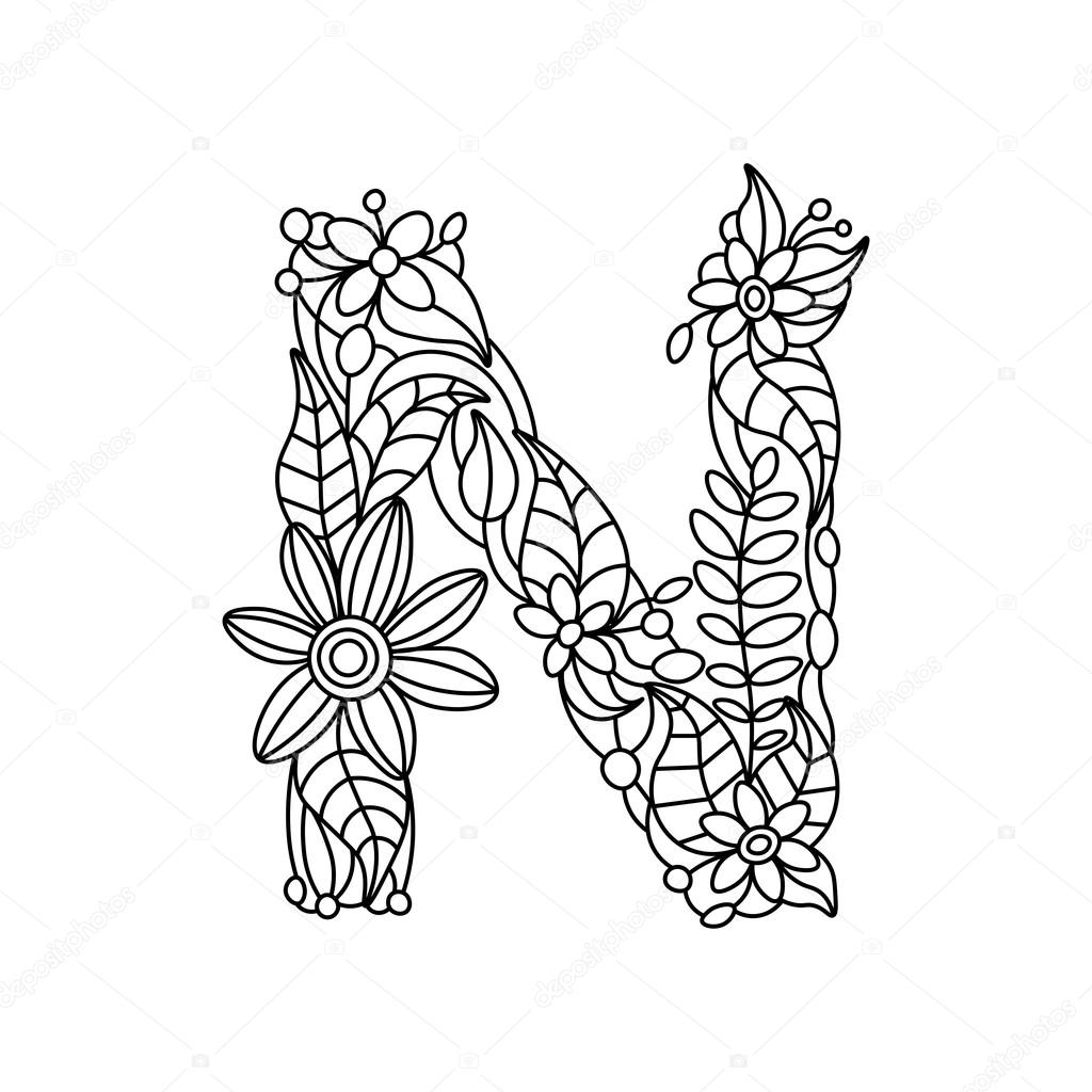 1024x1024 Letter N Coloring Book For Adults Vector Stock Vector