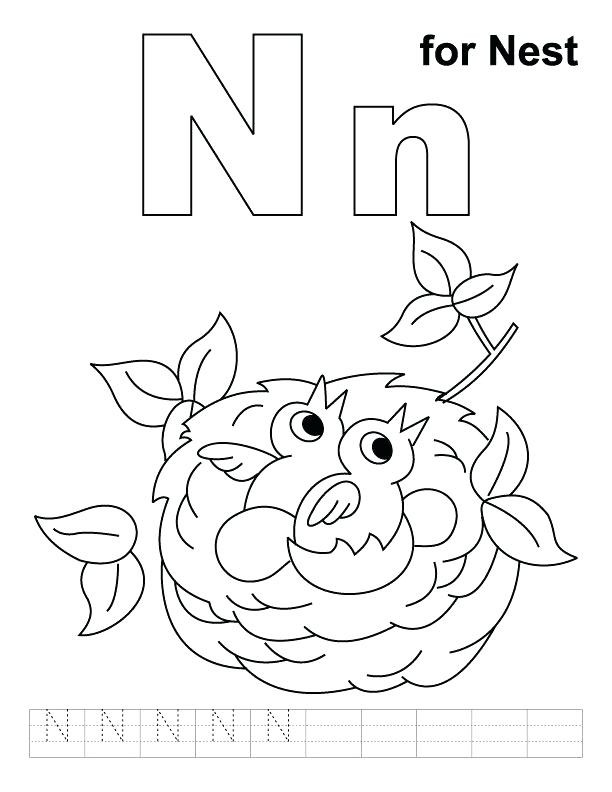 612x792 Practical Letter N Coloring Sheet Page For Nest With Handwriting